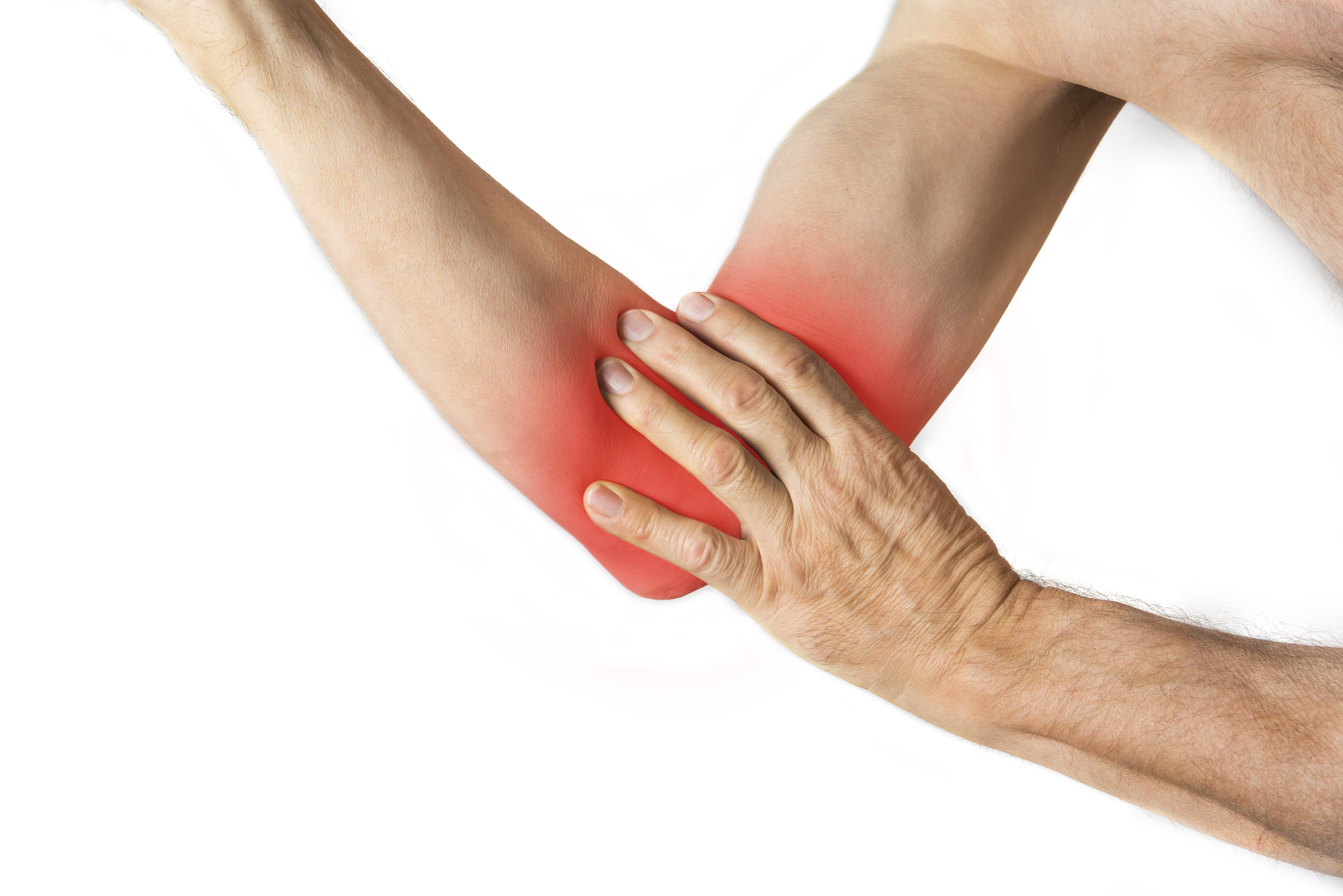 Man holding his elbow. Injury concept